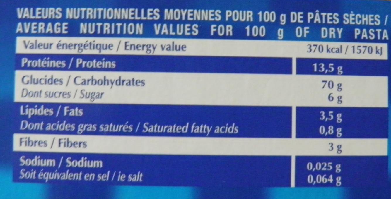 Spaghetti aux œufs frais (Format Familial) - Informations nutritionnelles - fr
