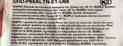 Pistoles Alto El Sol Bio  (noir, Cacao 65%) Boite 1KG - Ingrediënten - fr