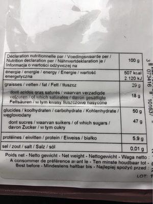 Force noire 50 % chocolat noir - Nutrition facts