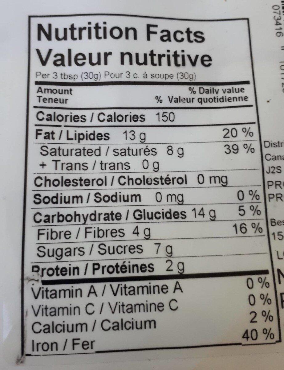 Chocolat noir 72% - Nutrition facts - fr