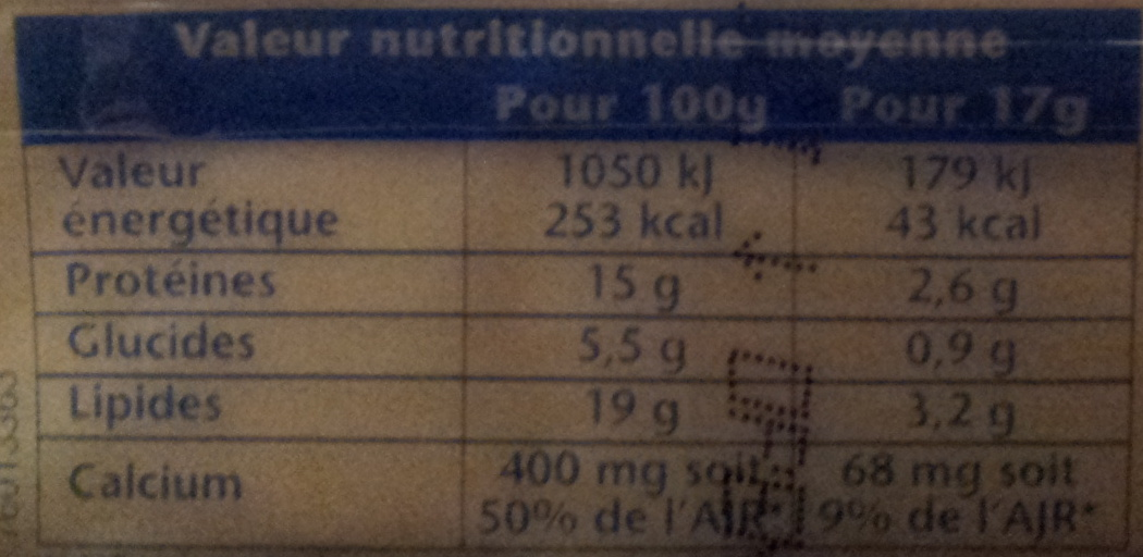Toastinette Pour Croque Monsieur Nature (19 % MG) 20 tranches - Informations nutritionnelles