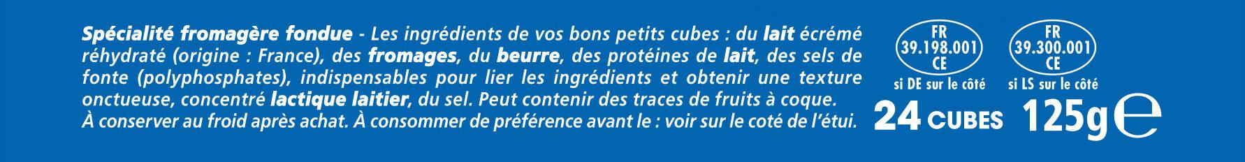 Apéricube Nature 24C - Ingrédients - fr