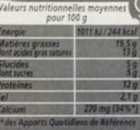 Apéricube Campagne 24C - Nutrition facts - fr