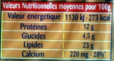 Apéricube Recettes Provencales - Nutrition facts