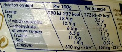 La vache qui rit - Nutrition facts - en
