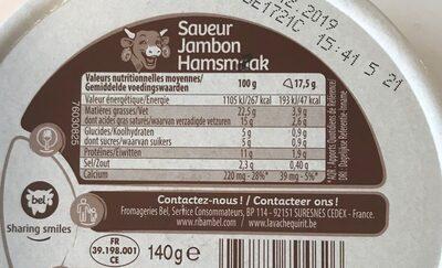 La Vache qui rit Saveur Jambon (23% MG) - Informations nutritionnelles