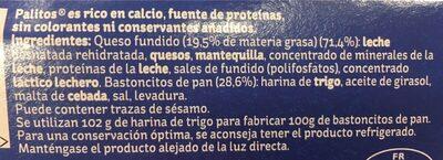 Palitos crema de queso con palitos de pan para mojar tarrinas - Ingredients - es