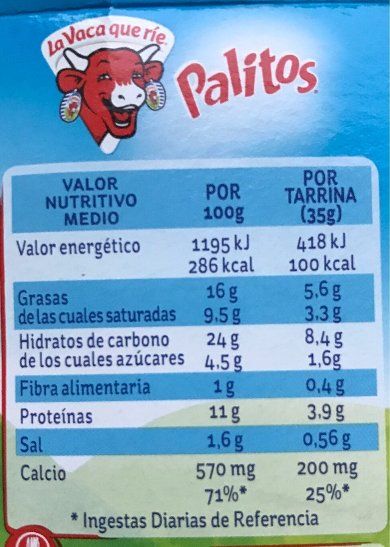 Palitos crema de queso con palitos de pan para mojar tarrinas - Nutrition facts