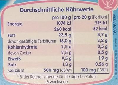 kiri mit Joghurt - Voedigswaarden