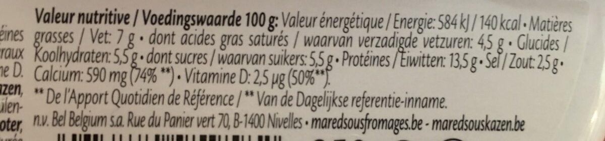 Fromage fondu Light 7% + vit. D & calcium - Voedingswaarden - fr