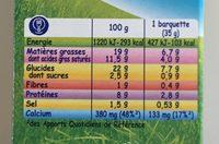 Kiri Goûter - Voedingswaarden - fr