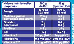Fromage à la crème de lait - Informations nutritionnelles - fr