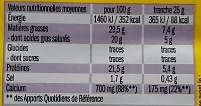Le Moelleux - Voedingswaarden - fr