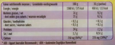 Le Moelleux 250G - Nutrition facts