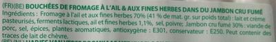 Les Roulés Boursin de Jambon Fumé (Ail & Fines Herbes) Plateau 20 Roulés - Ingrédients - fr