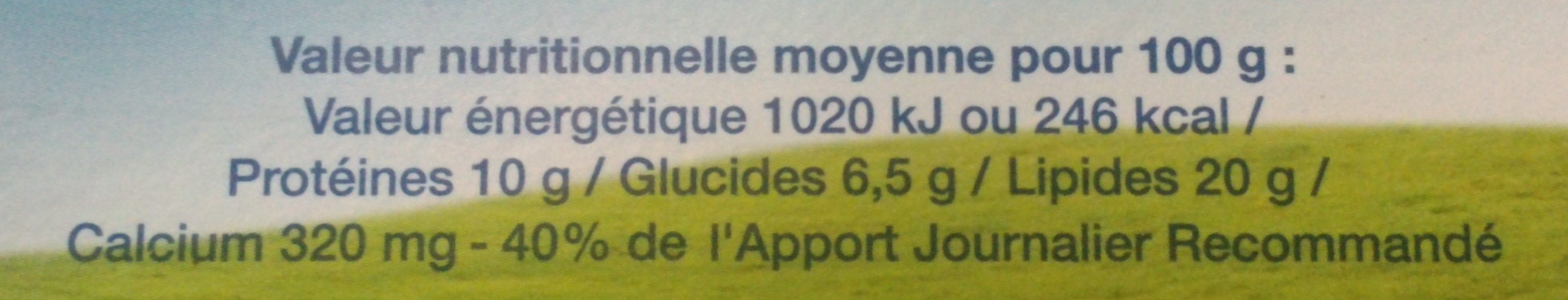 Fromage fondu 8 portions (20 % MG) - Informations nutritionnelles - fr