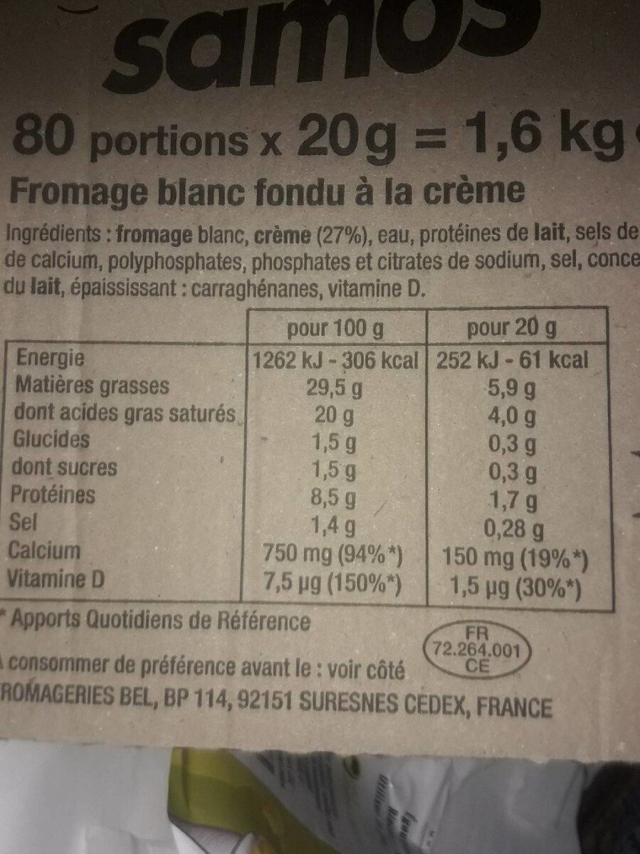 Samos 29,5% 150 MG De Calcium - Informations nutritionnelles - fr