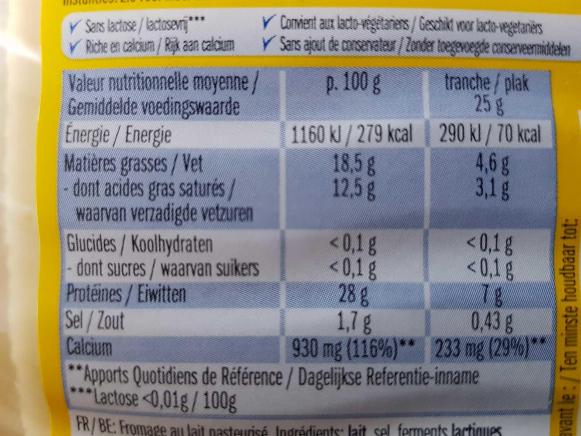 Lightlife caractère - Informations nutritionnelles