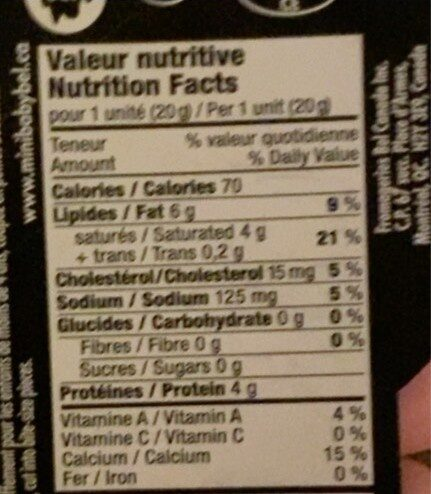 Babybel Cheddar Cheese - Nutrition facts - fr