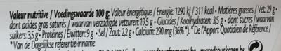 Double Crème - Informations nutritionnelles - fr