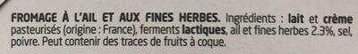Boursin® Ail & Fines Herbes Portion x16 - Ingrédients - fr