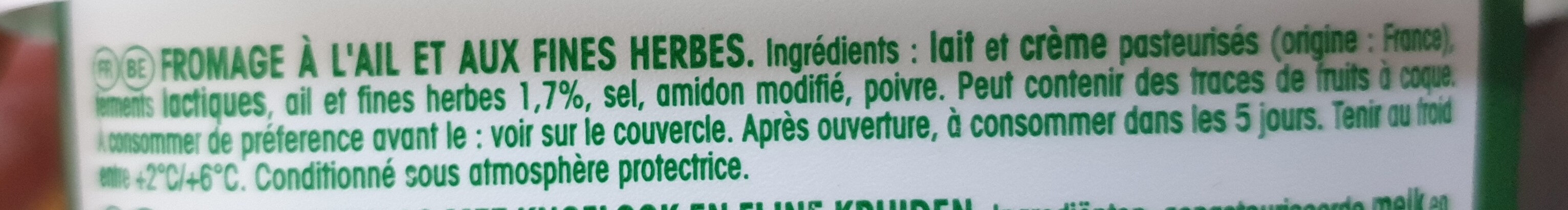 Boursin salade & apéritif ail & fines herbes - Ingrediënten - fr