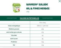 Boursin® Salade Ail & Fines Herbes - Informations nutritionnelles - fr