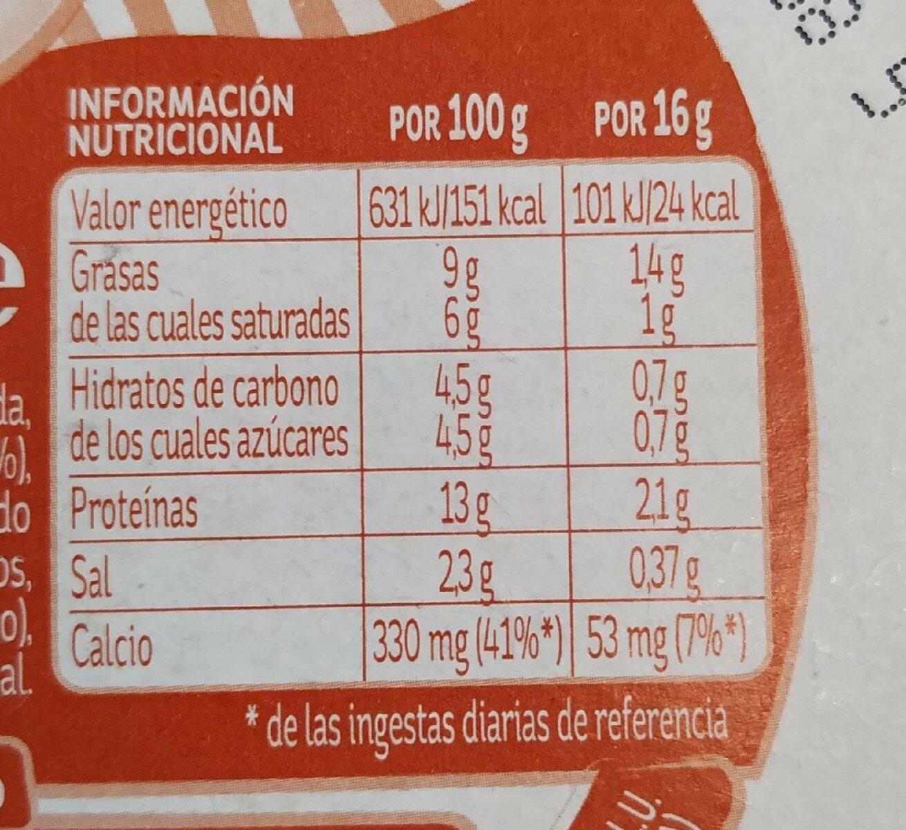 Quesitos light con emmental - Información nutricional