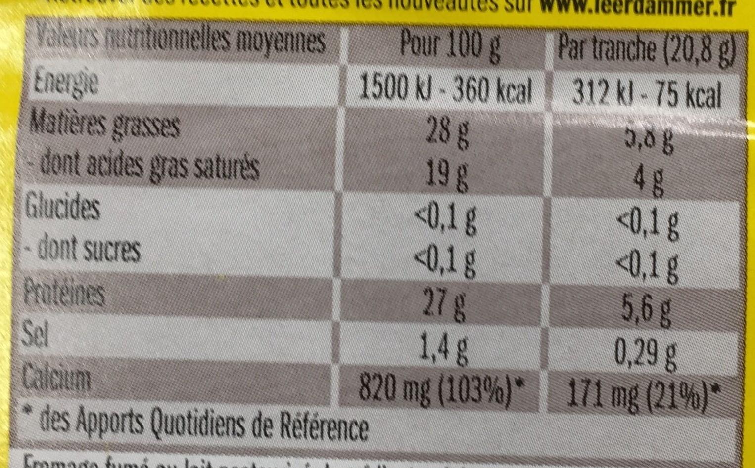 Spécial pour vos Raclettes Fumé - Informations nutritionnelles