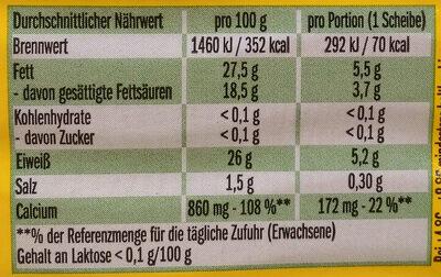 Leerdammer Original - Informations nutritionnelles - de
