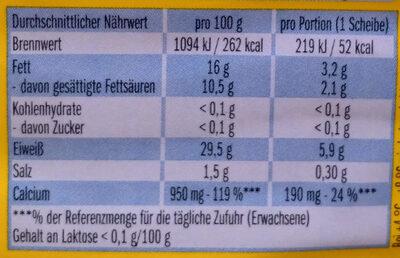 Leerdammer Léger - Nutrition facts - de