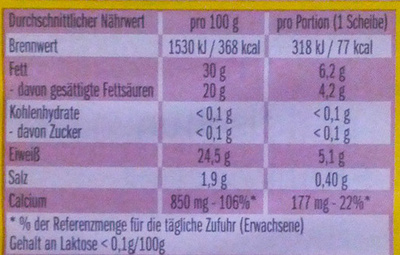 Leerdammer Caractère - Nutrition facts - de