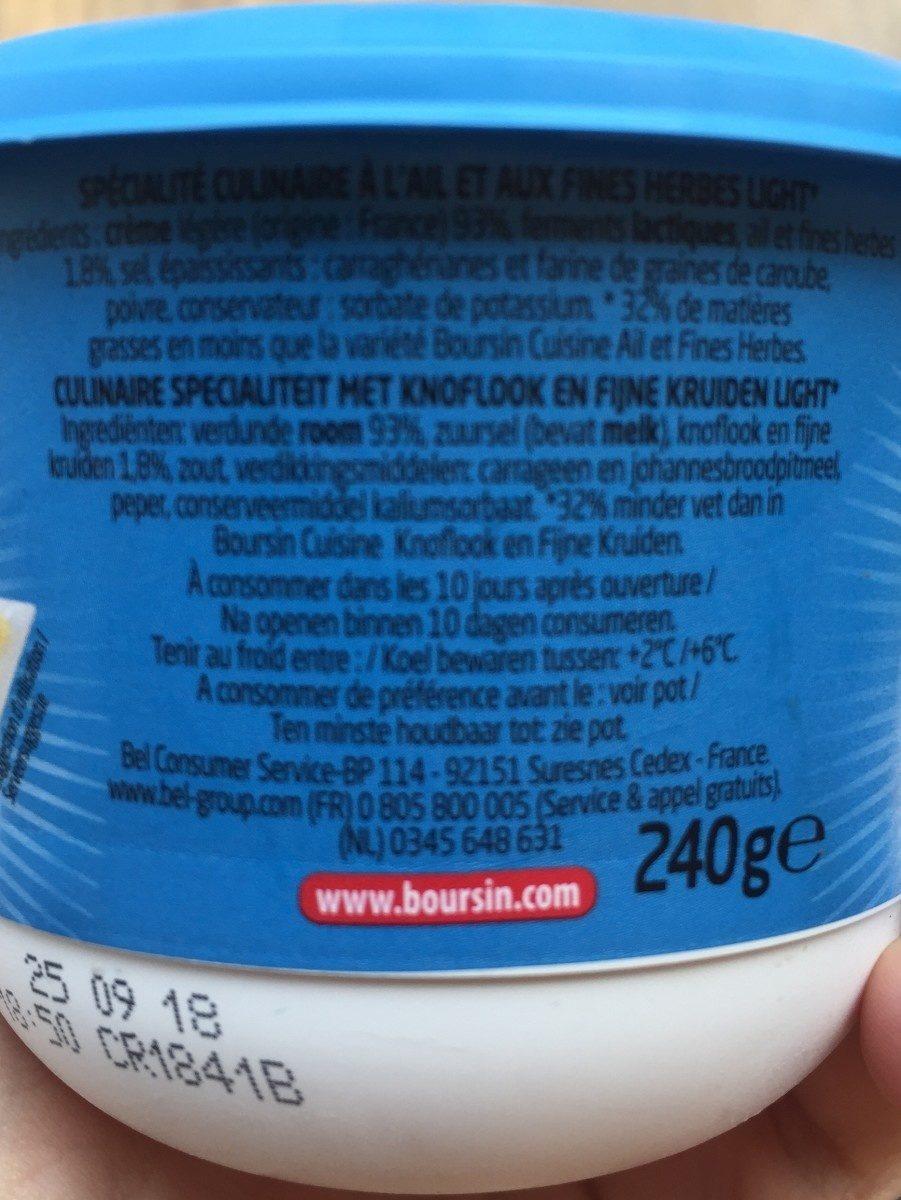 Boursin Ail Fines Herbes Light - Ingrédients - fr