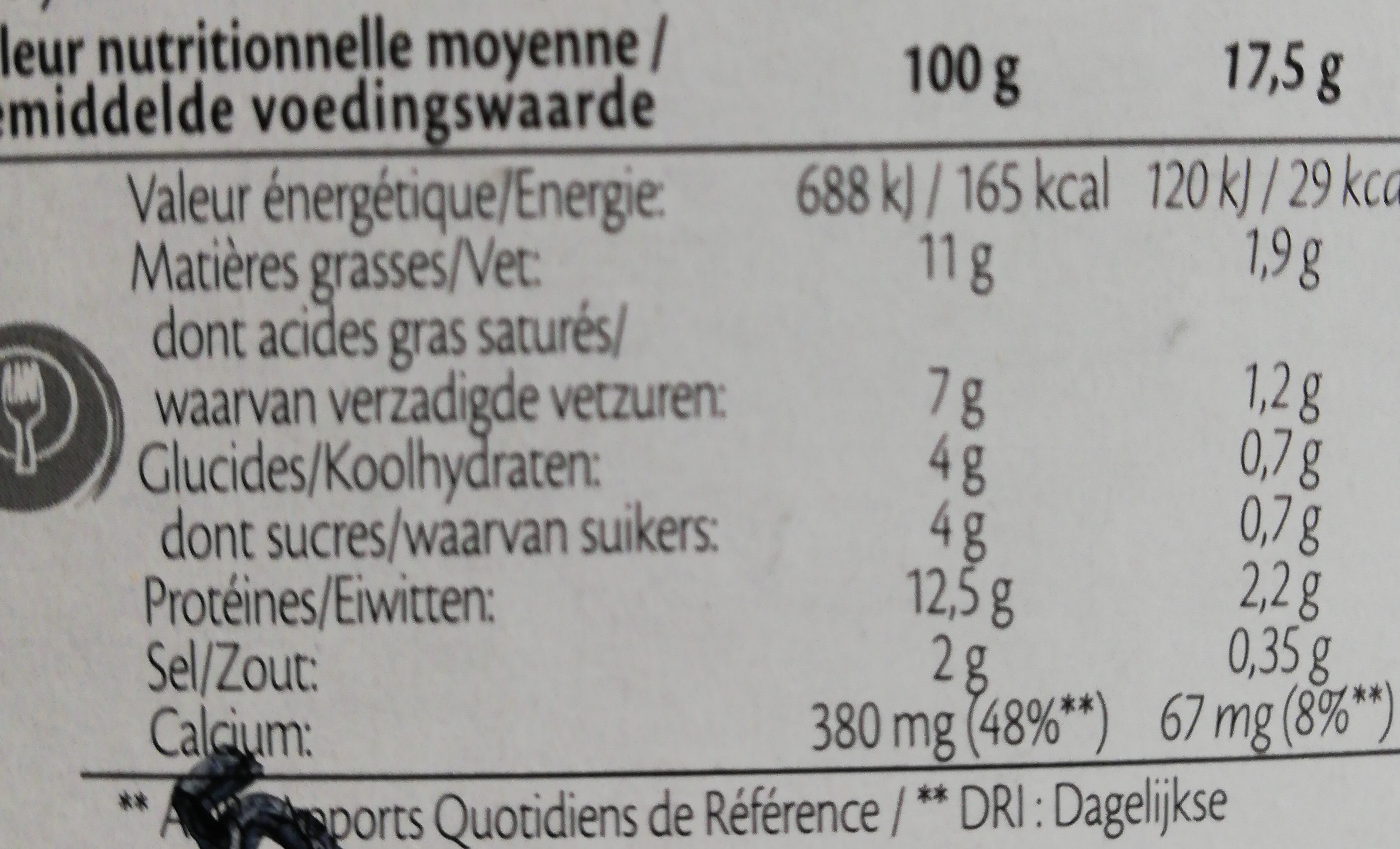 Maredsous light au jambon - Informations nutritionnelles