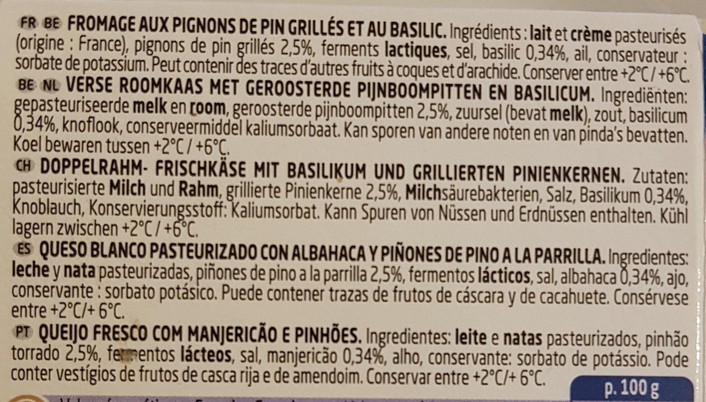Basilic & Pignons de Pin - Ingrediënten - fr