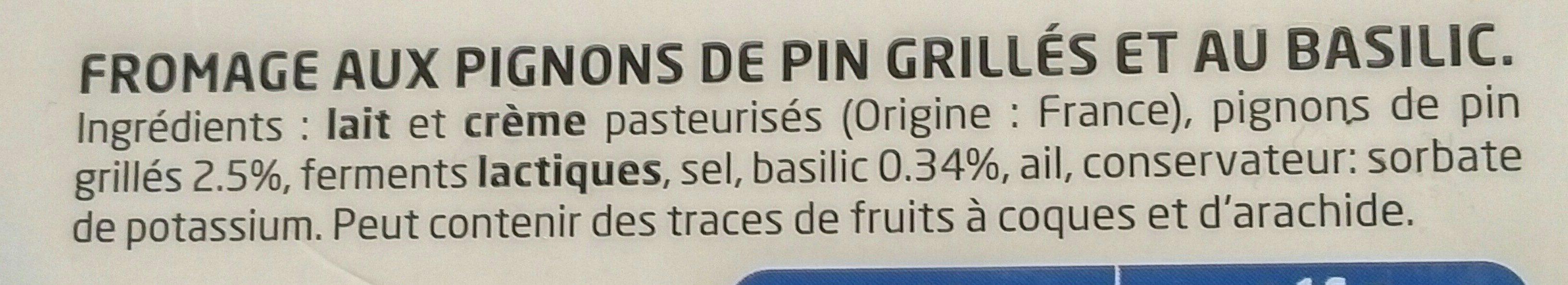 Fromage basilic & pignons de pin 10 x 16 g - Ingrédients - fr