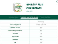 Boursin Ail & Fines Herbes - Valori nutrizionali - fr