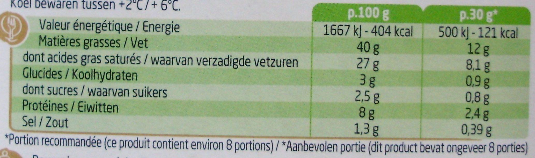 Boursin Ail et fines herbes - Voedingswaarden - nl