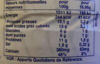 Vache Picon - Informations nutritionnelles - fr