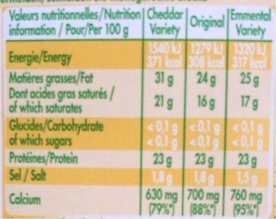 Mini-Babybel Mix x9 - Valori nutrizionali - fr