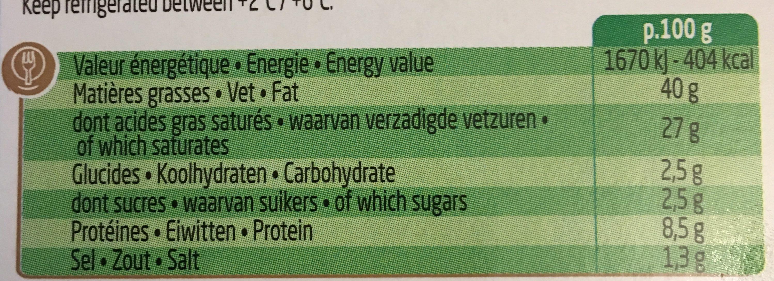 Boursin Échalote & Ciboulette - Nutrition facts