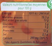 Apericube Saveurs - Informations nutritionnelles