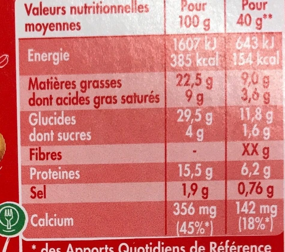 Cheese & crackers Babybel - Nutrition facts