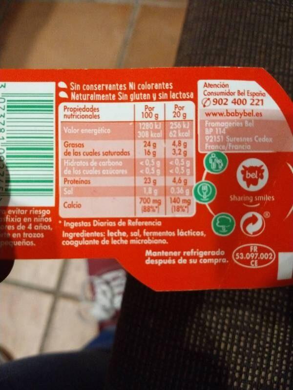 Mini Babybel quesos - Ingredients - es