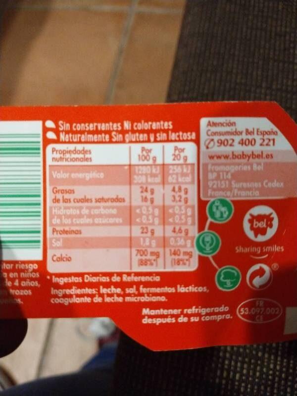 Mini Babybel quesos - Informació nutricional - es