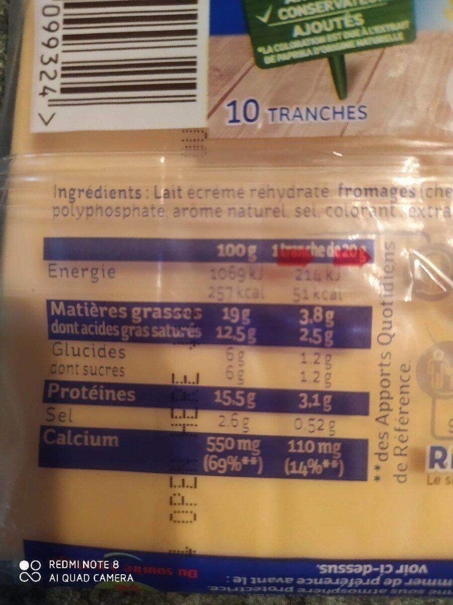 Toastinette cheddar 10 tranches - Valori nutrizionali - fr