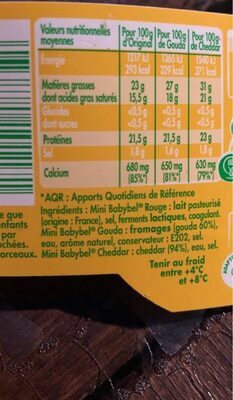 Mini pack - Nutrition facts