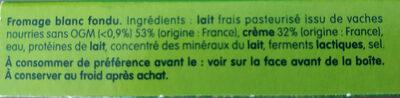 Fromage blanc fondu - Ingrédients - fr