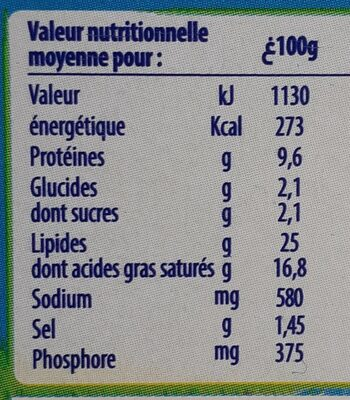 Kiri - حقائق غذائية - fr