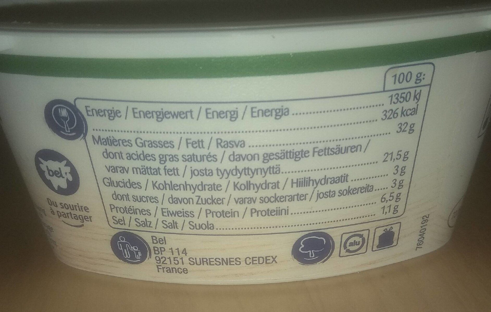 Cantadou ail & fines herbes - Nutrition facts